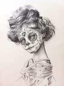 Day of the Dead Skull Girl Drawing