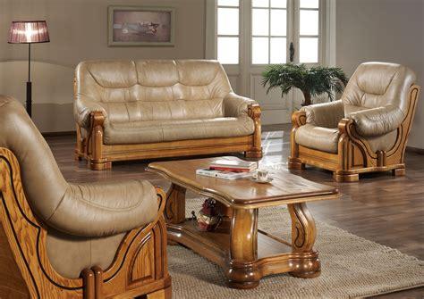canape bois canapé cuir et bois massif canapé idées de décoration