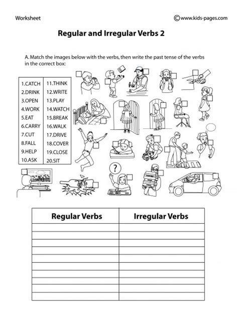 regular and irregular verbs 2 b w worksheet