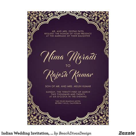 Indian Wedding Invitation Black Gold Frame Invitation