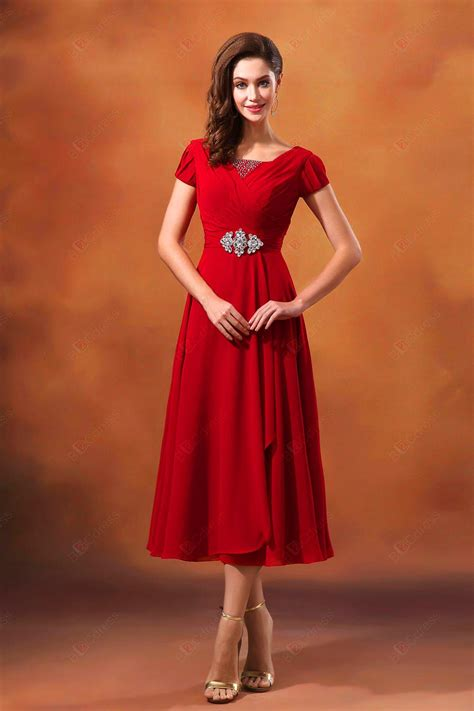 hot   red short sleeve ankle length scoop neck