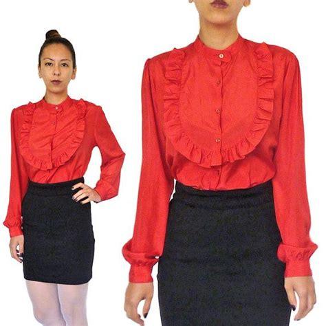 pin up blouse hola vintage 80s blouse pin up frill shirt