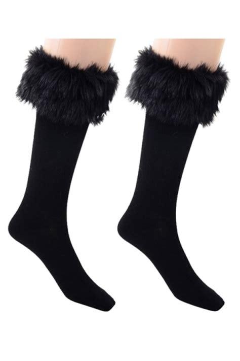womens pretty fuzzy socks black pink queen