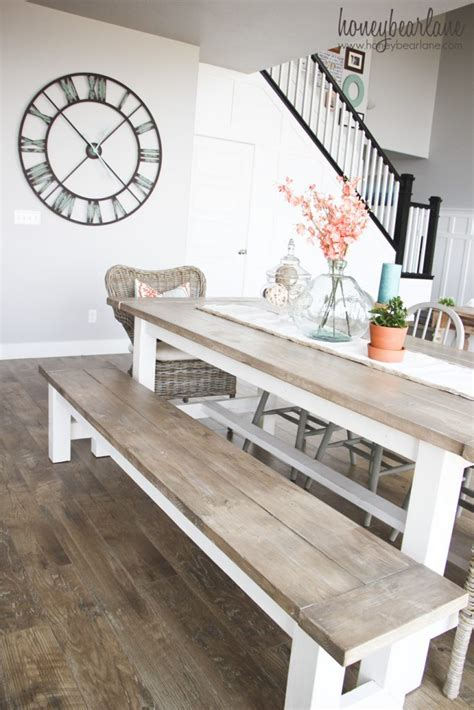 farm style table with bench diy farmhouse table and bench honeybear lane