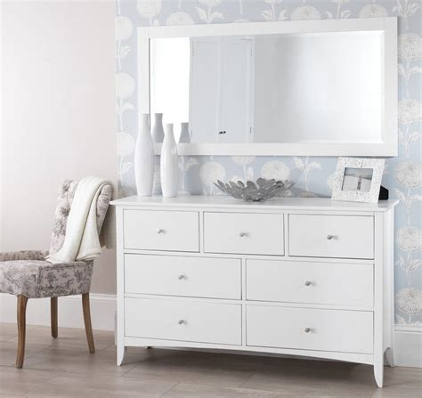 white dressing table with drawers and mirror white chest