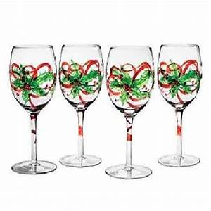 Christmas Painted Wine Glasses by Clearly Susan