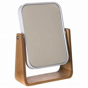Miroir à Poser : miroir poser bambou naturel blanc ~ Teatrodelosmanantiales.com Idées de Décoration