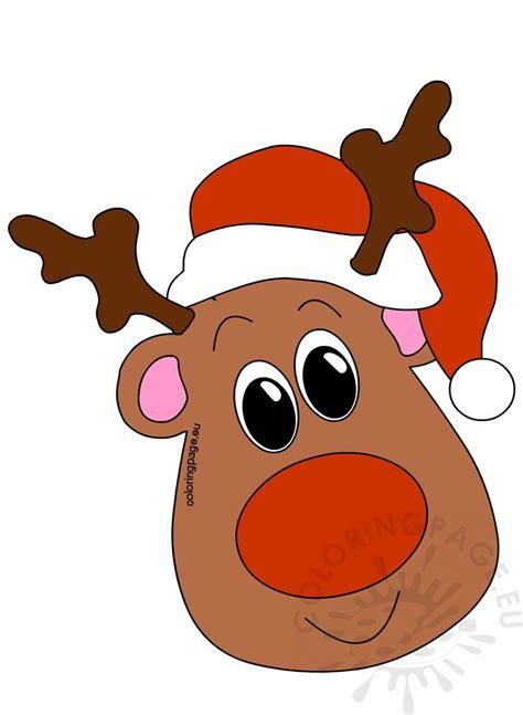 reindeer head  santa hat coloring page