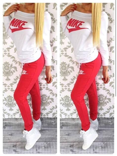 #pants #shirt #nike Stylish womenu0026#39;s red and milky sweatsuit | Fashion | Pinterest | Workout ...