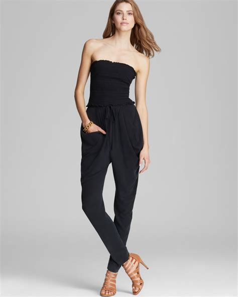 strapless jumpsuit catherine malandrino jumpsuit finesse strapless in black