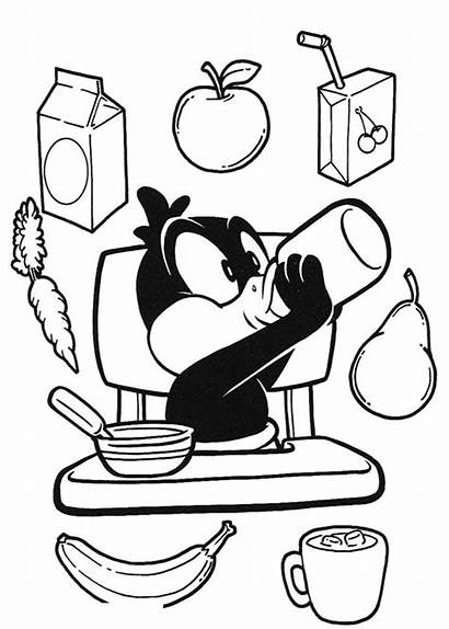 Coloring Breakfast Mamadeira Duck Daffy Looney Tunes
