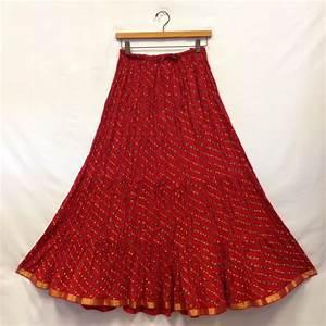 Rajasthani Sarees Cotton Lehariya Printed Long Skirt- Red ...