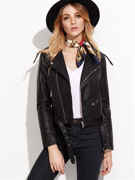 best moto jacket black faux leather belted moto jacket with zipperfor women