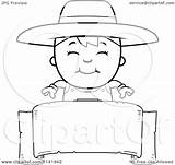Farmer Boy Cartoon Clipart Banner Coloring Outlined Vector Thoman Cory sketch template