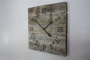Hall large rustic wall clock gray washed color with