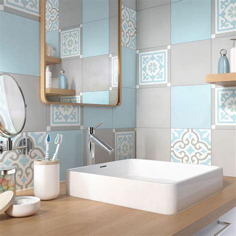 carreau salle de bain carreau de ciment 233 poque d 233 cor gris bleu vert et blanc l 20xl 20cm leroymerlin
