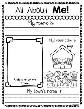 all about me worksheets by the teachers