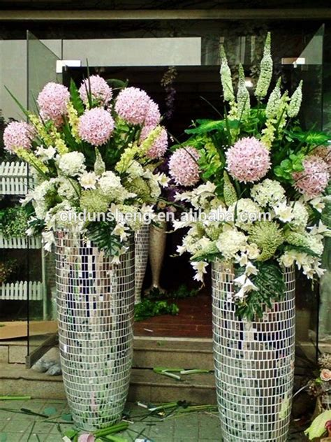 floor standing mirror vase wholesale wedding large floor standing silver mirrored mosaic decorative vase contemporary buy