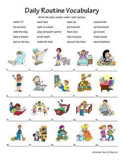 daily routine vocabulary exercice anglais eme exercice