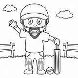 Cricket Coloring Playing Boy Park Pages Colouring Printable Cute Illustration Vector sketch template