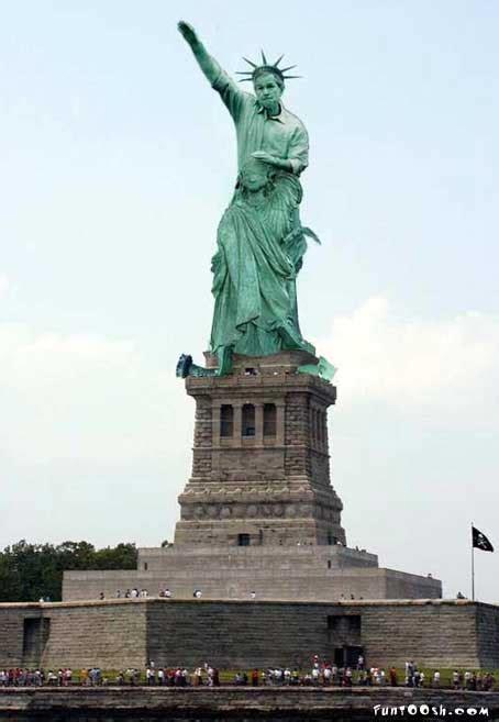 bush  statue  liberty funtooshcom