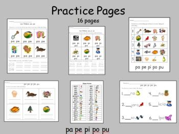 spanish syllables pa pe pi po pu practice pages  dual