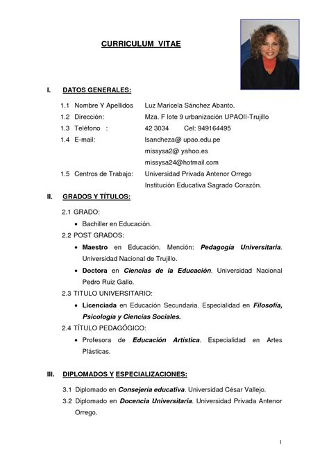 Cv Simple by Modelo De Curriculum Vitae Simple En Word Modelo De