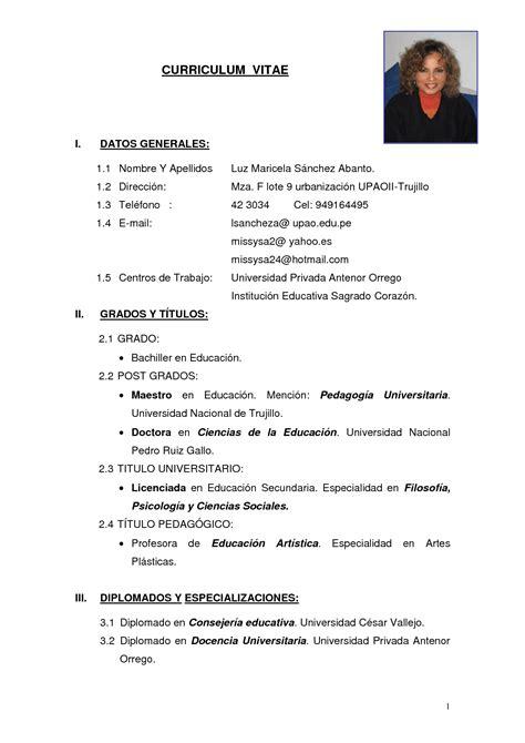 Word Modèle Cv by Modelo De Curriculum Vitae Simple En Word Modelo De