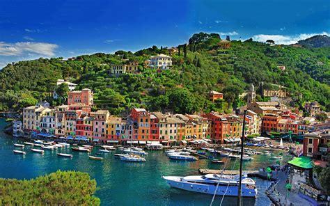 Portofino Backgrounds by City Cityscape Landscape Sea Boat Building Forest