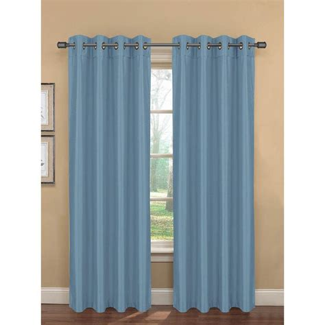 blue curtain panels semi opaque bliss faux silk 84 in l room