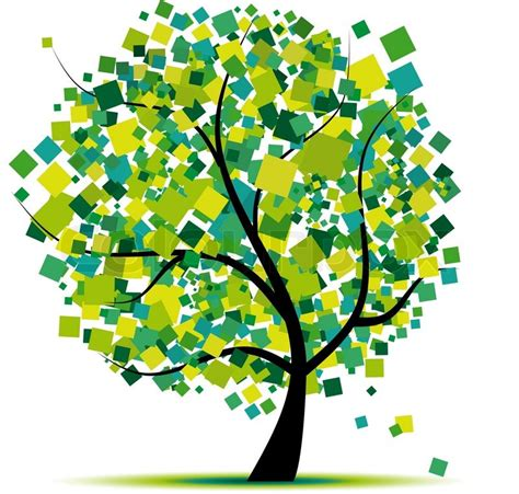 trees design abstract tree green for your design stock vector colourbox