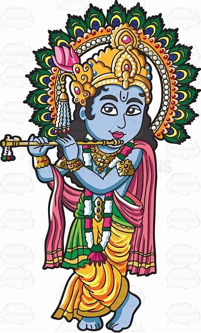 Hindu Krishna Goddess Cartoon Clipart Vectortoons นท
