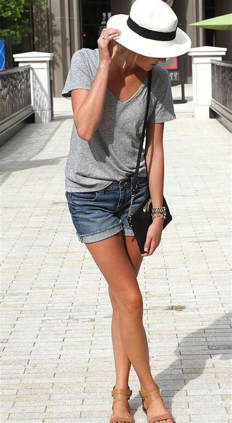 The Grown-Up Way to Wear Jean Shorts | Outfit Ideas | Pinterest | Denim cutoffs Blogger style ...