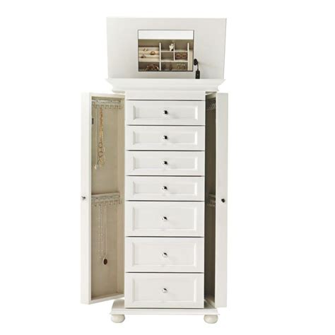 White Armoire by Home Decorators Collection Hton Harbor White Jewelry