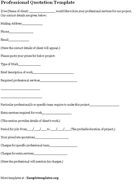 quotation template  professional format