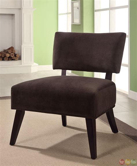 Contemporary Brown Fabric Upholstery Accent Chair
