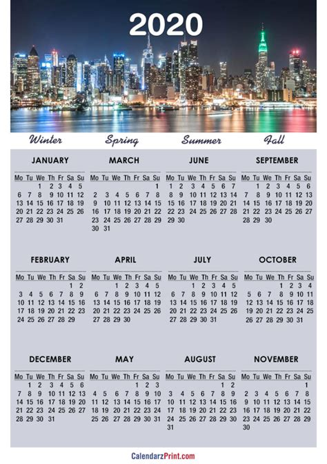 calendar printable york calendars monday start