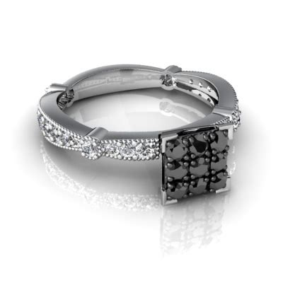 cheap real wedding rings with black and white diamonds for sale