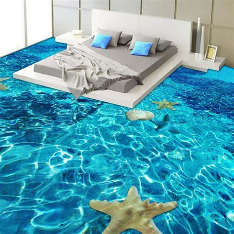 3D Stereo Sea starfish Flooring Wallpaper Bedroom Bathroom