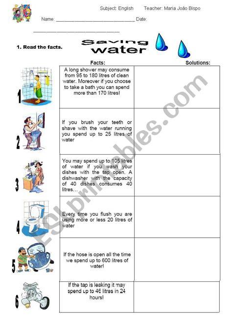 save water worksheet images worksheet for maths