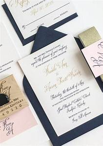 gold navy and blush wedding invitation for a kentucky With wedding invitations in gold color
