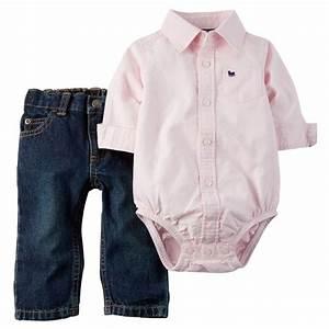 Carters Newborn Oxford Bodysuit u0026 Jeans Set Baby Boy Clothes   eBay