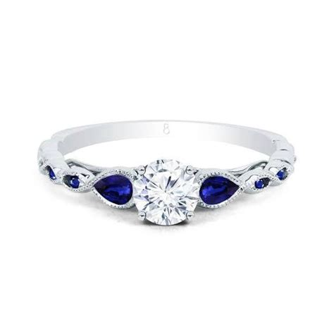 white gold emerald ring clara blue sapphire ring engagement