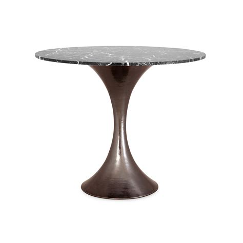 hammered metal table l base 36 marble dining table with hammered base mecox gardens