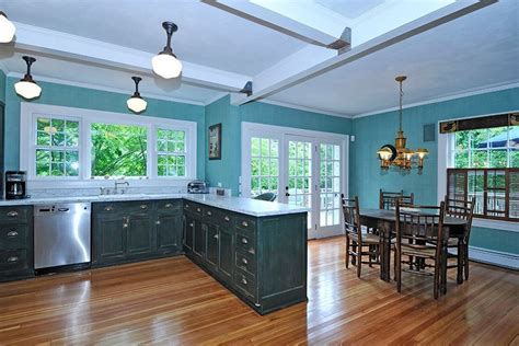 Blue Kitchen Walls With Brown Cabinets by Blue Kitchens With Brown Cabinets Fabric Small Rugs