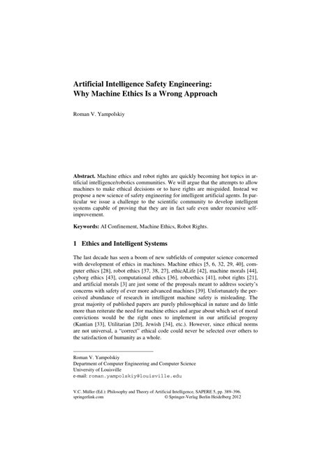 (PDF) Artificial Intelligence Safety Engineering: Why