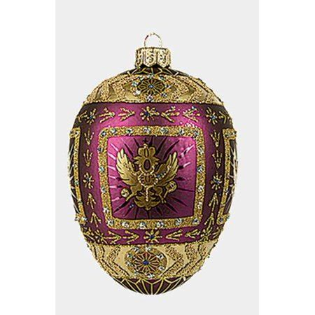purple eagle egg faberge inspired glass ornament christmas