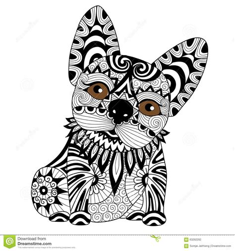 hand drawn zentangle bulldog puppy  coloring page stock
