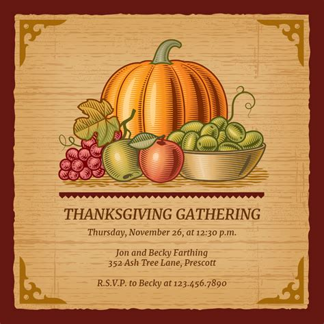 gathered harvest thanksgiving invitation template