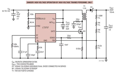 lt high voltage flyback power supply circuit